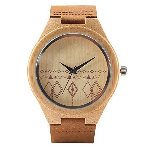 LCDIEB Relojes Retro de Madera, Reloj de Cuarzo, Reloj de bambú Original para Hombre, Reloj de Cuero Genuino Suave a la Moda para Hombre, Reloj de Madera, Regalos de Lujo Superior