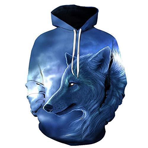 HGFHKLL Impresión 3D Azul Solitario Lobo Rey Sudadera con Capucha Unisex HD pulóver Hombres y Mujeres Bolsillo Pareja Traje Sudadera Calle