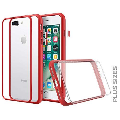 RhinoShield Funda Modular Compatible con [iPhone 7 Plus / 8 Plus] | Mod NX - Funda Protectora de Impactos - Compatible con Cargador inalámbrico - Bumper Rojo con Placa Trasera Transparente