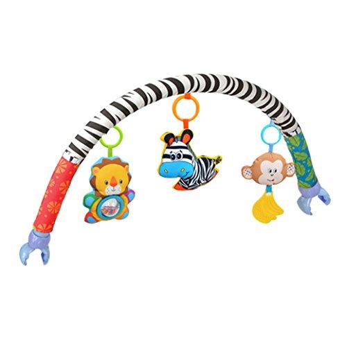 Amazemarket Baby-/Kleinkind-Spielzeug, für Kinderwagen und Bett, aus Plüsch mit Clip, hängende Tiere, Zebra-Löwen, Affenbogen mit Quietsche/Rassel/Beißring