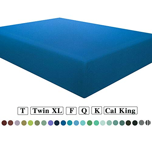NTBAY Microfiber Full Fitted Sheet, Wrinkle, Fade, Stain Resistant Deep Pocket Bed Sheet, Royal Blue