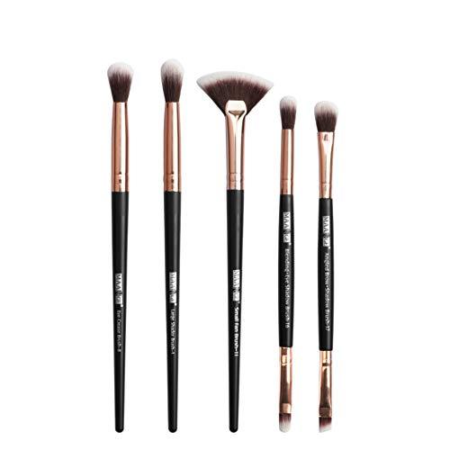 Drawihi Pinceaux Maquillages Premium Coloré Fondation Mélange Blush Yeux Visage Poudre Brosse Cosmétiques 5Pcs (Noir 2)