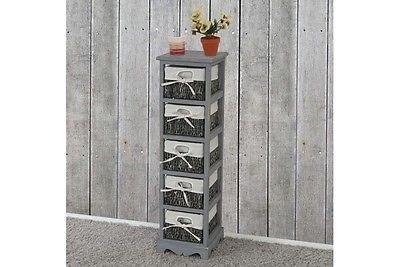 Regal grau Kommode mit 5 Korbschubladen massiv Paulowniaholz Anrichte Vintage
