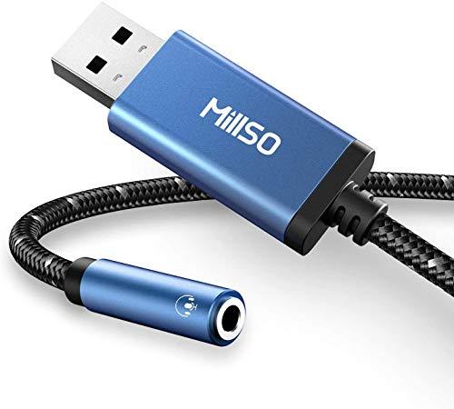 MillSO USB Externe Soundkarte USB zu 3,5 mm Audio Adapter [Saphirblau + Geflechtmaterial + Smart Chip] TRRS USB zu AUX Audio Externe Soundkarte für Kopfhörer, Lautsprecher, PS4, PC, Desktops - 30cm
