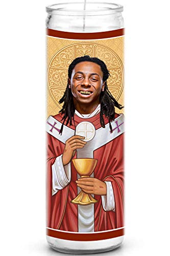 Lil Wayne Celebrity Prayer Candle - Funny Saint Candle - 8 inch Glass Prayer Votive - 100% Handmade in USA - Novelty Celebrity Gift (Lil Wayne)
