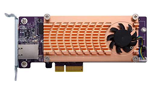 QNAP QM2-2P10G1TA QM2 series, 2 x PCIe 2280 M.2 SSD slots, PCIe Gen2 x 4 , 1 x AQC107S 10GbE NBASE-T port