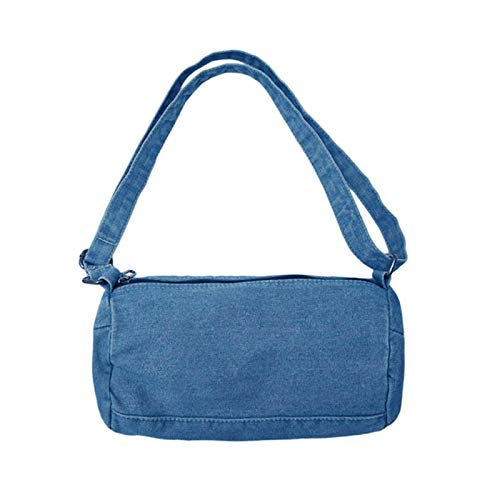 Cllym Frauen Handtaschen Leinwandsack Moderne Denim Einkaufsschulter Messenger Blues Crossbody Bag Totes,Himmelblau