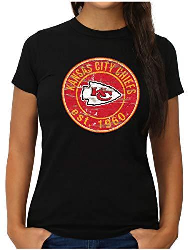 OM3® - Kansas City Badge - T-Shirt   Damen   American Football Shirt   M, Schwarz