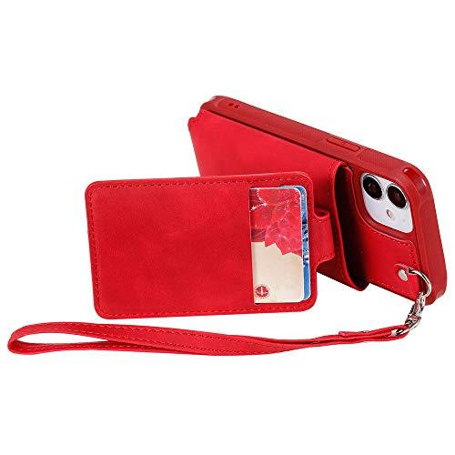 Premium Funda de Cuero Compatible para iPhone 12 Mini 5.4' con Bolsa Tarjeta Ranuras Estar Función iPhone 12 Mini Carcasa Protectora Flexible TPU Case con Correa de Muñeca, Rojo
