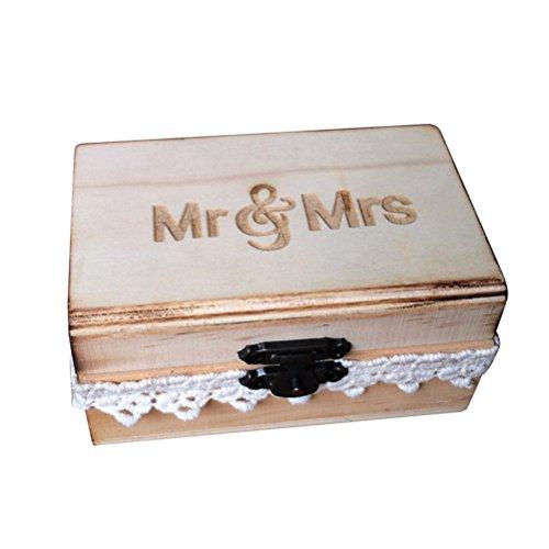 TOPBATHY Holz Ring Box Vintage Rustikale Mr Mrs Spitze Hochzeit Ring Box Verlobungsring Schmuckschatulle für Verlobung Heiratsantrag (Holz Ring Box)