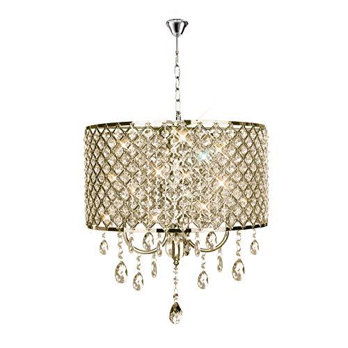 Kristall Hängeleuchte Lampenschirm Kronleuchter Deckenlampe Lüster Pendelleuchte zylindrisch Hängelampenschirm E14 (Keine Glühbirne enthalten) - 8