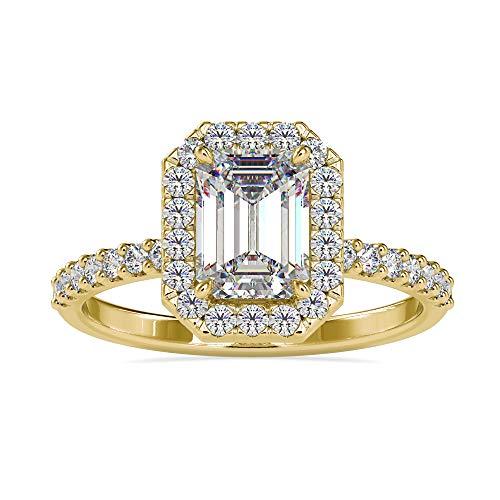 Diamondrensu 18K Hallmark Oro amarillo de 18 quilates emerald-shape round-brilliant-shape Moissanite