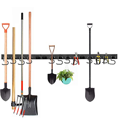 Ihomepark Verstellbare Gerätehalter für Garage Tool Organizer, 122 cm Werkzeughalter Aufbewahrungssystem Mop Broom Holder Garden Garage Aufbewahrung