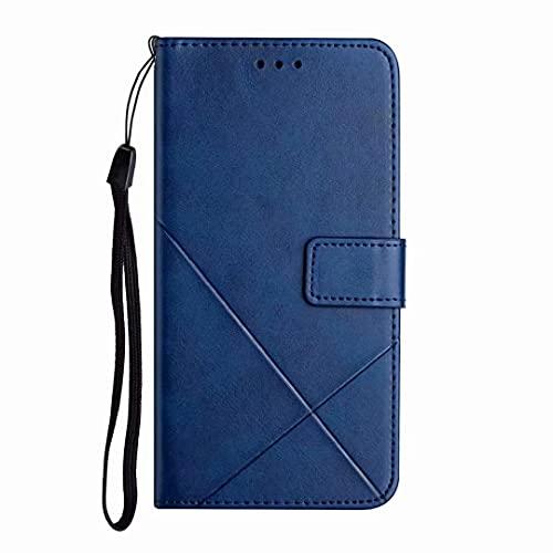Funda para Realme 5/5i/6i / C3 de piel sintética a prueba de golpes con cierre magnético, funda tipo libro con tapa y función atril para tarjetas de teléfono Realme 5/5i/6i / C3 azul