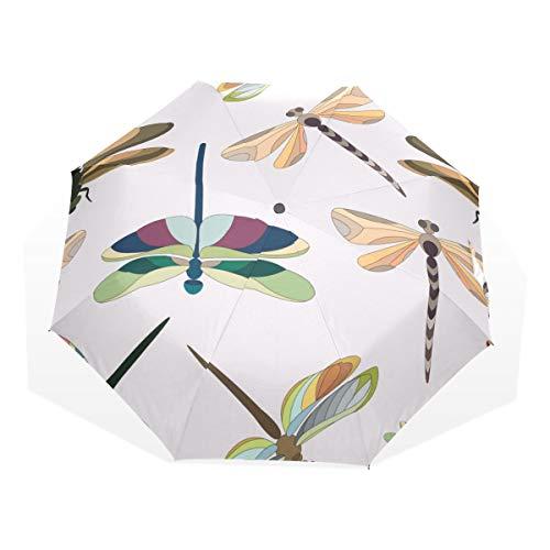 Travel Umbrella Dragonfly Charming Colourful Insect 3-Fach Kunst Regenschirme (außerhalb Druck Fashion Compact Umbrella Travel Umbrella für Kinder Fahrrad Regen Regenschirm