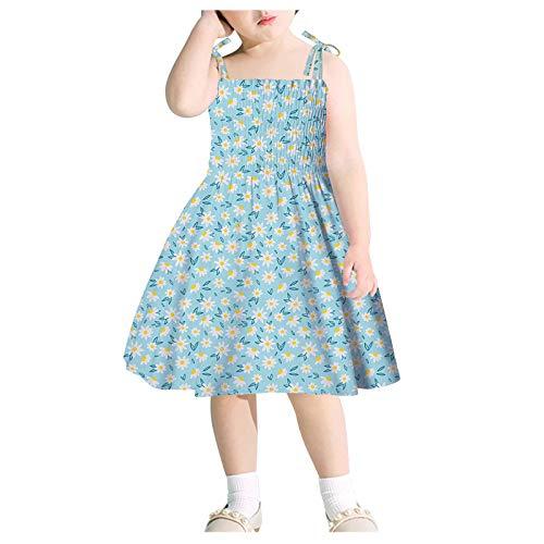 Huihong Baby Mädchen Kleid Sonnenblume Sommerkleid Kleinkind Kinder Ärmellos Hosenträger Kurz Strandkleid Blumenmuster Urlaubskleid Freizeit Kleider Kinderkleidung 1-6 Jahre (2 Jahre, Blau15)
