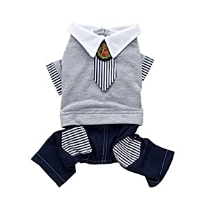 SELMAI Pet Costume for Small Dog Boy Cute British School Uniform Stripe Tie Cat Jumpuit Puppy Grey Sweater Pants Outfit Denim Jeans with Pocket Soft Cotton Party Clothes S