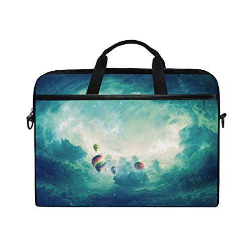 FOURFOOL 15-15.6 inch Laptop Bag,Large Balloons for The Flight in Sky,New Canvas Print Pattern Briefcase Laptop Shoulder Messenger Handbag Case Sleeve