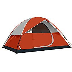 Pacific Pass Camping Tent 4 Person Family Dome Tent with Removable Rain Fly, Easy Set Up for Camp Backpacking Hiking Outdoor, Orange