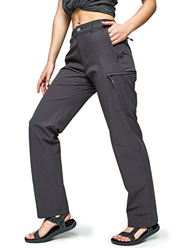 MIER Women's Quick Dry Cargo Pants Lightweight Tactical Hiking Pants with 6 Pockets, Stretchy and Water-Resistant, Graphite Grey, 6