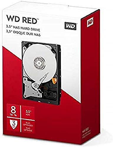 Western Digital WD Red interne harde schijf 8 TB (3,5 inch, NAS harde schijf, 5400U/min, SATA 6 GB/s, NASware-technologie, voor NAS-systemen in continu) rood