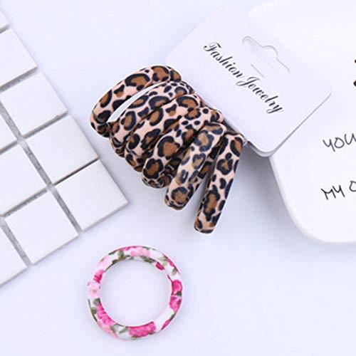 TOUSHI Cheveux Accessoires 6 Pcs/Pack Coton Imprimer Fleurs Cordes De Cheveux Léopard Haute Élastique Bandes De Cheveux Élégance Gomme De Cheveux pour Les Femmes Filles Accessoires De Cheveux