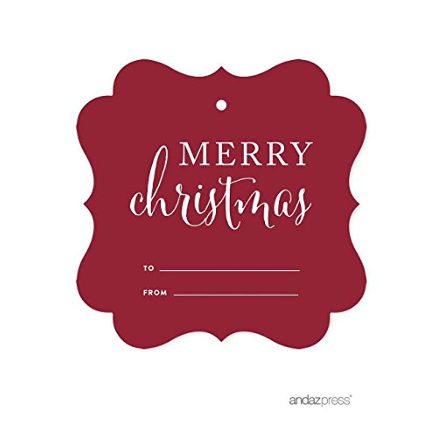 Andaz Press Christmas Collection, Fancy Frame Gift Tags, Merry Christmas to from, Red, 24-Pack