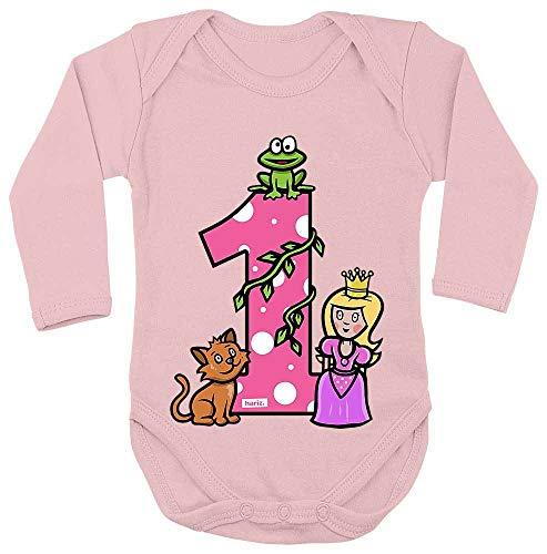 Hariz Baby Body de manga larga Princesa cuento de cuento de cuento para niños Baby Plus Tarjeta de regalo de algodón de azúcar rosa 50 – 56