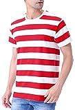 COSAVOROCK Camiseta a Rayas de Manga Corta Hombre (XXL, Blanco Y Rojo)