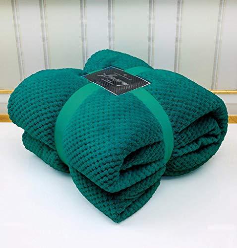 Super Soft Popcorn Textured Throws Fleece Blanket Sofa Bed Warm Large Settee (Green, King :200Cm x 240Cm)