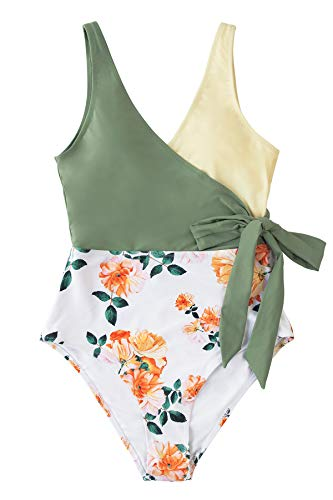CUPSHE Women's One Piece Swimsuit Knotted Color Block Bathing Suit, M Green Yellow