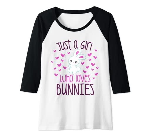 Mujer JUST A CHICA QUE AMA A LOS CONEÑOS Conejo, Mamá, Conejo, Propietario de Mascotas Niño Camiseta Manga Raglan