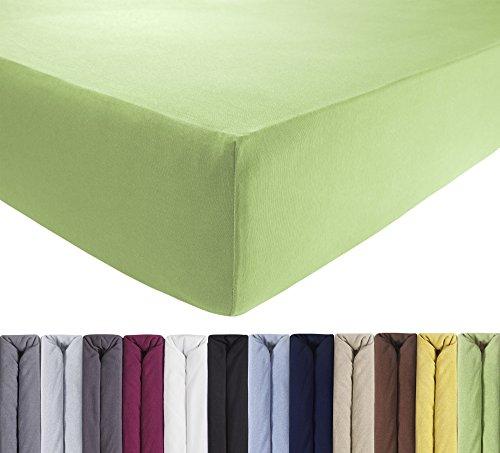 ENTSPANNO Jersey Spannbettlaken für Wasser- und Boxspringbett in Grün | Pistazie aus Baumwolle. Spannbetttuch mit Einlaufschutz, 180 x 200 | 200 x 200 | 200 x 220 cm, bis 40 cm hohe Matratzen
