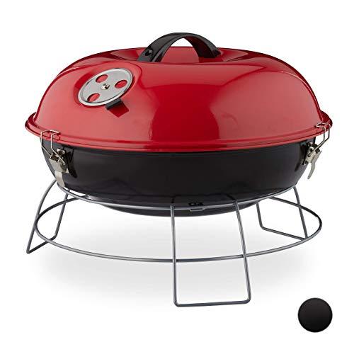 Relaxdays Kugelgrill, tragbar, mit Deckel, leckeres BBQ, Picknickgrill mit großer Grillfläche, Holzkohle, Ø36cm, rot