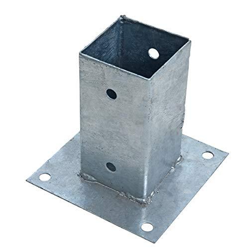 ESTEXO Aufschraubhülse Pfostenhülse Pfostenträger Bodenhülse Aufschraubbodenhülse Hülse Pfostenschuh eckig 71x150 mm