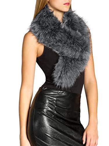 CASPAR Fashion Caspar STO001 Damen Kunst Pelzkragen, Farbe:grau, Größe:One Size