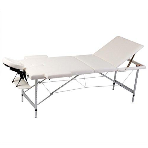 Festnight - Lettino Pieghevole da Massaggio/Trattamento Bianco Crema 3 Zone con Telaio Alluminio
