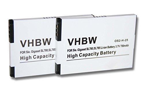vhbw 2X Akku passend für Siemens Gigaset SL4 Professional, Unify Openstage SL4, u.a. schnurlos Festnetz Telefon (700mAh, 3.7V, Li-Ion)