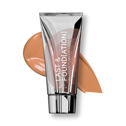 WUNDER2 LAST & FOUNDATION Makeup 24+ Hour Liquid Foundation Full Coverage Waterproof with Hyaluronic Acid, Color Caramel