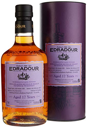 Edradour 17 Years Old Bordeaux Cask Finish mit Geschenkverpackung Whisky (1 x 0.7 l)
