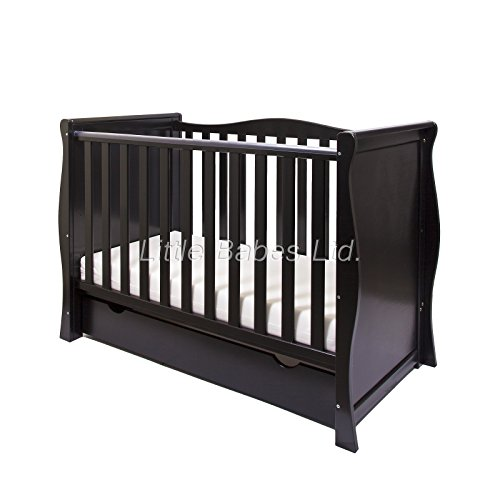 New Pinewood Black Sleigh Mini COT Bed & Drawer ONLY