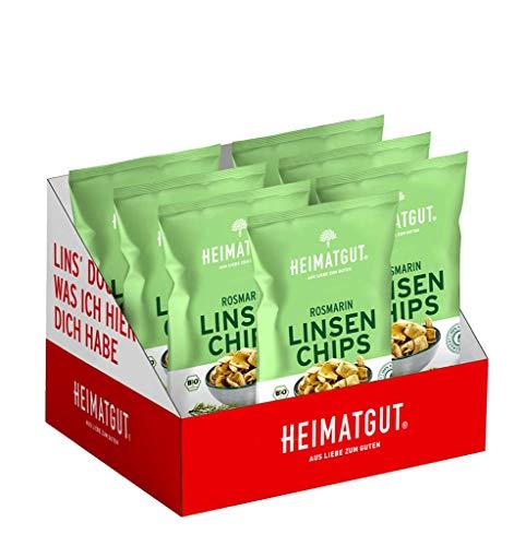 Heimatgut BIO Linsen Chips Rosmarin, Vegan & Glutenfrei, Linsensnack, 7 x 75g Vorteilspack