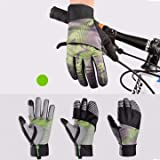 Generic Winter Waterproof Full Finger Touch Scree Cycling Gloves with Rain Cover Stripe Style...