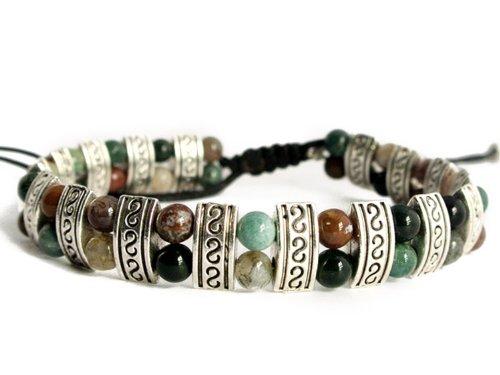 Agathe creation - Bracelet - Perles en Argent tibetain - Pierres de Jaspe Naturelle - Fait Main