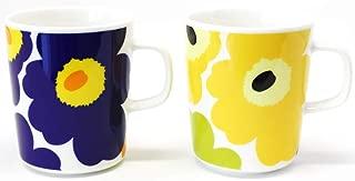 マリメッコ UNIKKO(ウニッコ)マグカップ/紺、黄色 セット