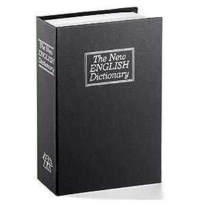 Langtor Caja Fuerte para Libros con Cerradura de Combinación, Caja Fuerte Portátil, Ideal para Guardar Dinero, Acero(Grande, Negro)
