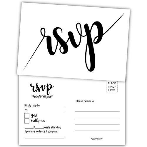 50 Stück RSVP Postkarten, blanko, Antwortkarte ohne Umschläge, für Hochzeit, Rehearsal Dinner, Babyparty, Brautparty, Geburtstag, Verlobung, Junggesellenabschied, Party-Einladungen.