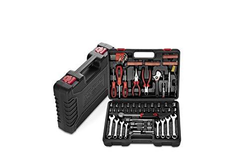 WOLFGANG 122 Teile Werkzeugkoffer mit Werkzeug Set, Schraubenschlüssel Set, Ratsche, Steckschlüsselsatz, Schrauberdreher, Bitset, Werkzeugkasten für Haushalt, Auto, Werkstatt