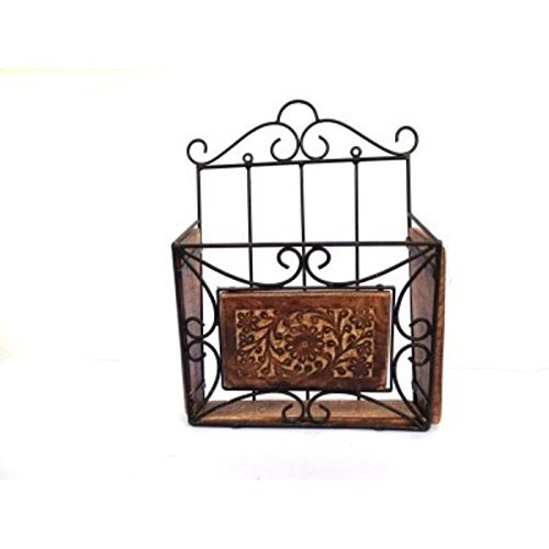 Amaze Shoppee Magazine Newspaper Stand,Holder Rack,for Home and Office Utility,Made of Wrought Iron and Wooden,Handcrafted (Black and Brown)