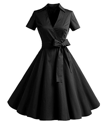 Gonna Vintage Anni 50 60 Audrey Hepburn Vestiti da Cocktail da Donna Elegante di Cotone Manica Corta Black S